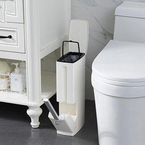 Waste Bins 6L Eco-friendly Plastic Bathroom Trash Can With Toilet Brush Bin Dustbin Garbage Bucket Cleaning Tools Bags