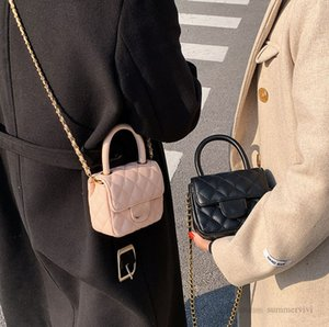 Luxury Girls diamond lattice quilted handbags children metals letter chain single shoulder bag women crossbody mini purse A7947