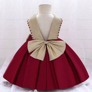 Girl's Dresses 1st Birthday Dress For Baby Girl Princess Pettiskirt Long Formal Bowknot Party Kids Clothes Toddler Clothing 0-6Y B4708