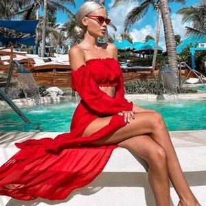 Mujeres Mesh Sheer Bikini Cover-Ups Set See a través de las tapas de manga larga de la manga larga y cubren las faldas de dos piezas de traje de baño Vestidos de playa para mujer