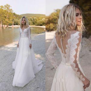 Bohemian Wedding Dresses V Neck Long Sleeve Lace Appliques Beads Bridal Gowns Beach A-Line Wedding Dress Robe De Mariee