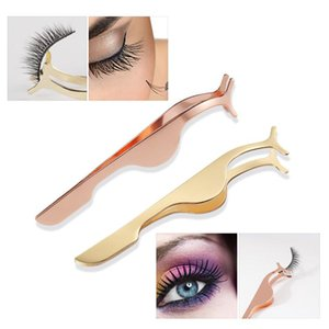 Lash Eyelash Tweezers False Eyelashes Curler for Women Nipper Auxiliary Clamp Makeup Forceps Tools