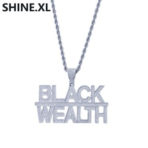 Hip Hop Fashion Gold Plated 2 Rows Letter Black Wealth Pendant Necklace Men Bling Jewelry Gift