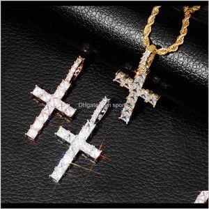 & Pendants Drop Delivery 2021 Hip Hop Cross Iced Out Zircon Pendant Necklaces For Men Women Gold Plated Copper Zircons Twist Chain Religion C