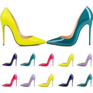 Mulheres vestido sapatos vermelhos fundo alto salto alto mulheres luxurys designers genuínos Bombas de couro senhora sandálias casamento fundos com caixa 040901