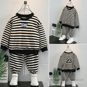 Fashion Boys stripe clothes sets children letter printed round collar long sleeve sweatshirt+trousers 2pcs autumn kids outfits Q1948