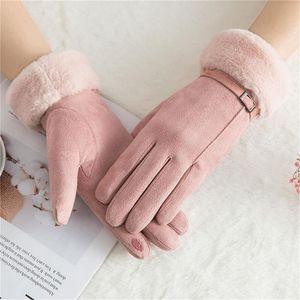Five Fingers Gloves Winter Women Female Keep Warm Solid Color Ladies Elegant Plush Wrist Mittens Ski Driving Glove Guantes Invierno