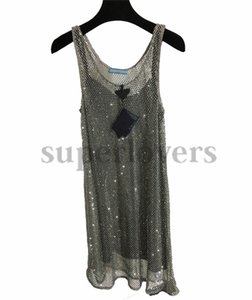 Sexy Sling Dress Womens Hollow Silver Diamond Mesh Dresses Top Luxury Sleeveless Skirts For Women Beachdress