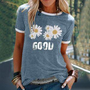 Letter Daisy Print Women T Shirt Summer Top Short-sleeved Patchwork T-shirt Harajuku O-neck Streetwear Clothing 2021#55 Women's