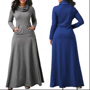 Women Womens Dresses Long Sleeve Dress Large Size Elegant Maxi Autumn Warm Turtleneck Woman Clothing With Pocket Plus