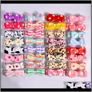 Baby Kids Maternity Drop Delivery 2021 Bow Headbands Flannel Bowknot Hairbands Solid Striped Polka Dots Bath Hairband Wash Face Makeup Turban