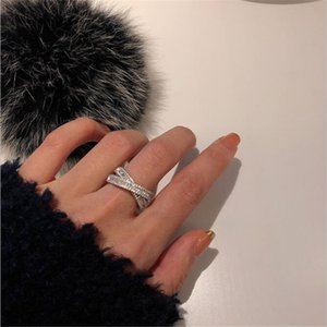 Ins Wedding Rings Sparkling Luxury Jewelry 925 Sterling Silver Princess White Topaz CZ Diamond Gemstones Eternity Party Cross Women Open Adjustable Ring Gift