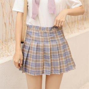 Summer Solid Color Plaid Skirt High Waist Tennis Skirts A-Line Pleated Jk Girls Preppy Style Damier Kilts 2XL