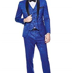 Men's Shawl Lapel 3-Pieces Slim Fit One Button Dress Suit Blazer Jacket Pants Tux Vest Men Suits for Wedding Costume Homme
