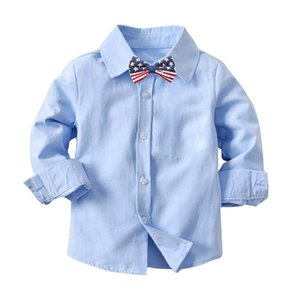 Fashion Baby Boys Gentleman Shirts Cotton Long Sleeve Casual Tops with Kids Bowtie Toddler Blouse