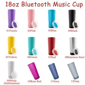 11 Colors 18oz Bluetooth Speaker Tumblers Waterproof Stainless Steel Music Cups Portable Water Bottle with USB Charging Party Supplies