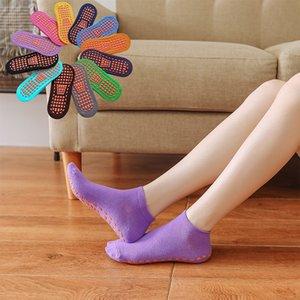 non-Slip Yoga Socks Professional Indoor Yoga Sport Socks for women men Cotton Short Floor footies trampoline sock 12 colors CCF6091