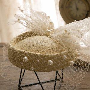 El Yapımı Dokuma Saman Çiçek Gazlı Bez Inci Yay Şapkalar Gelin Beyaz Peçe Fedora Headdress Paris Peri Mesh Bere