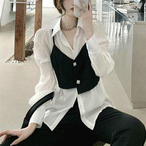 조각 세트 womens 복장 멋진 Y2K 얇은 조끼와 셔츠 + 캐주얼 바지 Streetwear 패션 정장 한국식 2021 가을 의류 여성의 트랙