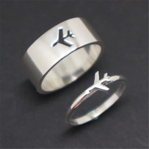 Airplane Couple Ring for Women Men Pilot Flight Butterfly Band Rings Attendant Wedding Set Aviation Lover Gift Vintage Jewelry Accessories