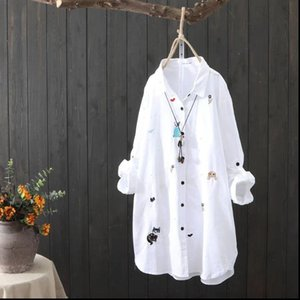 White Shirt Women Plus size Blouses Clothing 4XL 5XL Long sleeve 100% Cotton Blouse Embroidery Ladies Tops Casual Button