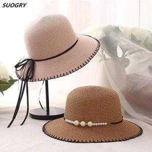 Fashion Cap Women Suture Summer Bucket Hats For Holiday Girl Pearl Wide Brim Sun Hat Straw Ladies Beach