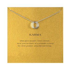 Necklaces Circles Chocker Women Silver Gold Three With KARMA For Necklace Jewelry Colar Card Pendant Fashion Cfqah