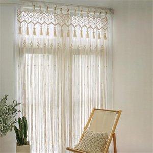 Curtain & Drapes Boho Living Room Window Cotton Handmade Woven Tapestry Wall Decor Door Divider Drape For Apartment Home 85x210cm
