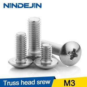 NINDEJIN Nails 304 Stainless Steel M3 55 PCS Philips Flat Head Machine Screw