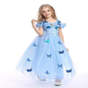 2017 snowflake butterfly cinderella dress fancy dress costumes for kids blue cinderella gown Halloween baby girl dress in stock