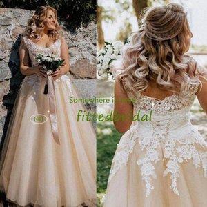 Country Garden Champagne A Line Bridal Gowns Lace Up Back V Neck Appliques Wedding Dresses Plus Size vestido de novia