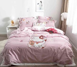 Lucky Cat Embroidery Blue Pink Duvet 4Pcs Ultra Soft Washed Cotton Bedding set Bed Sheet Comforter Cover Pillowcases