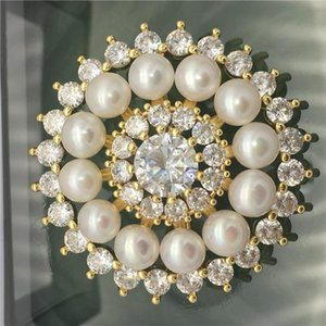 Pins, Brooches Wholesale Alluring Austria Zircon 6-7MM FW White Good Quality Pearl Brooch Scarf Clips Breastpin Pendant