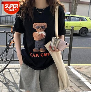 Huang Zheng sunglasses bear print short-sleeved T-shirt female Korean version loose age-reducing casual top XT21H1001 #rk1q