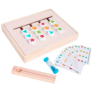Montessori Toy Colors Shapes Double Sided Matching Game Logical Reasoning Training Kids Educational Toys Children Wooden Toy GYH 1275 Y2