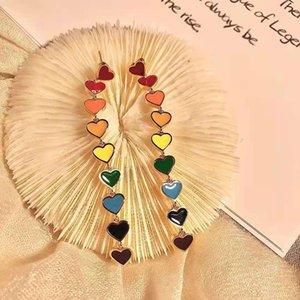 70% OFF S925 silver needle competition family cellin color love earhook red heart-shaped gutta percha enamel long earrings live broadcast