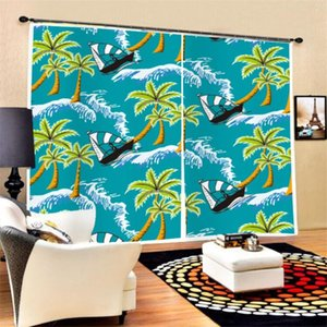 Curtain & Drapes 2 Panels Coconut Tree Wave Window 3D Polyester Black-out For Bedroom Living Room Kitchen,Home Decor