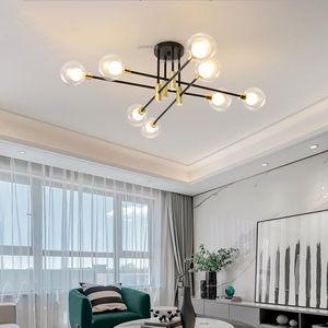 Ceiling Lights Nordic LED Lighting Living Room Gold Black Creative Home Decor Light Bedroom Luxury Glass Fixtures
