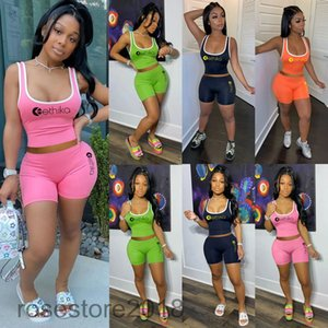 Ethika solid color Women tracksuit fashion Crop Top Vest + Shorts 2 Piece Sets 2021 Designer U neck casual Hot selling Sportswear Outfits