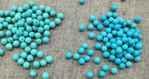 Half Hole--100pcs blue Turquoise 2-6mm Half-Drilled Bead, Round Cab Loose Smooth polished gemstone earrings