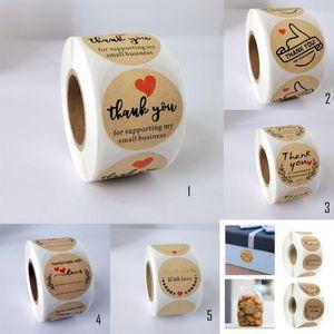 Thank you Sticker Sealing Label Round Kraft Paper Sticker 500 Pieces Per Roll Decoration Sticker Various Options