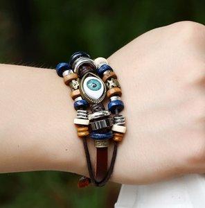 Großhandel 30 stücke armband handgemacht türkisch böse auge multilayer leder mann frau bronze charme schmuck armreif 2021