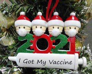 2021 Новые рождественские украшения карантин украшения семьи из 1-7 голов DIY дерево подвесные аксессуары с веревкой смолы