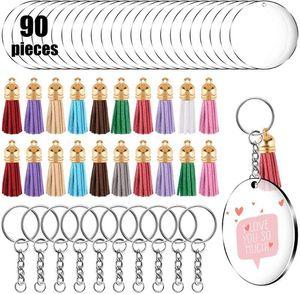 Blank Diy Tassels Keychain Keyry Rewry The Jewelry Материал 30 шт. Круглый Круглый акриловый Борад-карта + металлическая цепь обручал сюжета набор Thare 90 шт.
