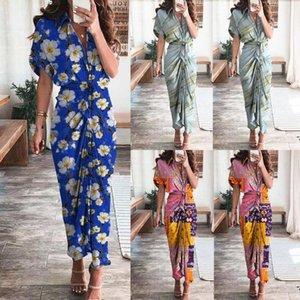 Этнические Одежда Женщины Повседневная половина рукава Печати Платье Плиссированные О-Шеи Цветочная Лодыжка Длинные Длинные Maxi Beach Vestidos de Mujer