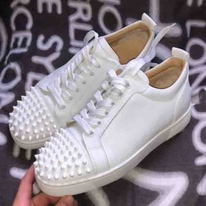 Top Luxury Designer Fashion Men Woman Red Bottom Sneakers Shoes Lace-up Junior Spikes,Strass Red Sole Casual Walking -- Party Wedding With Box