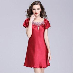 Satin Sexy Nightwear Silk Nightshirts Женские сонные одежды с коротким рукавом Солдыш Розовый ночной уборной пийс размер ночной одежда платье платье