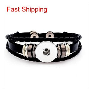 Charm Bracelets Multilayer Leather Noosa Chunk 18Mm Metal Bracelet Ginger Button Statement Wholesale Jewelry Snap Coko2 Q7Kh9