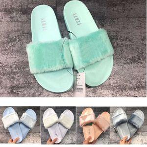 2021 Fashion Rihanna Leadcat Fenty Classic Color Slipper Slipper Faux Fur Borgogna Pantofole da scorrimento da donna Sandali rosa porpora indoor