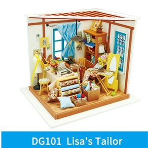 Home Decor Figurine DIY Sam Study Room Wood Miniature Model Kits Decoration Dollhouse Birthday Gift for Girl Christmas Gift